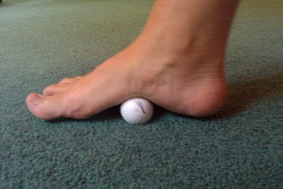 Golf ball foot stretching