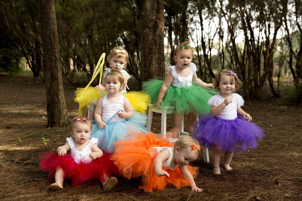 tutu rainbow styled collaborative product commercial photo shoot