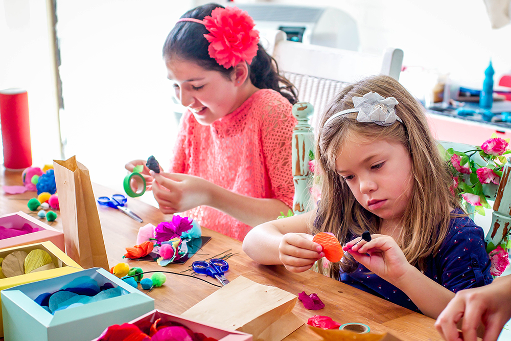 Little cuties getting some serious craft done