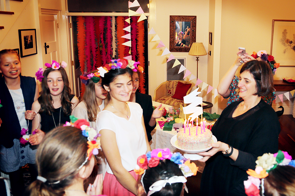 A Paper Flower Crown birthday party in action!