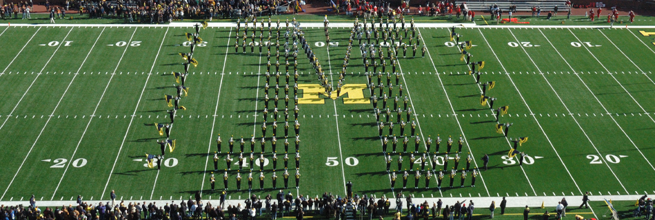 The University of Michigan Marching Band; Source: http://mmb.music.umich.edu/