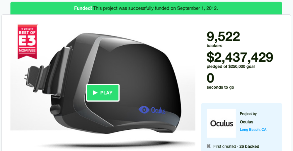 Oculus Rift on Kickstarter