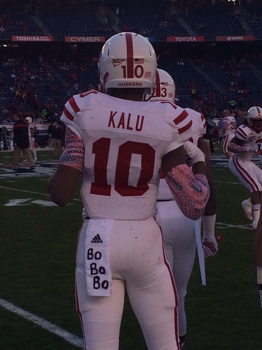 "Josh Kalu wrote ""BO BO BO"" on his hand towel."