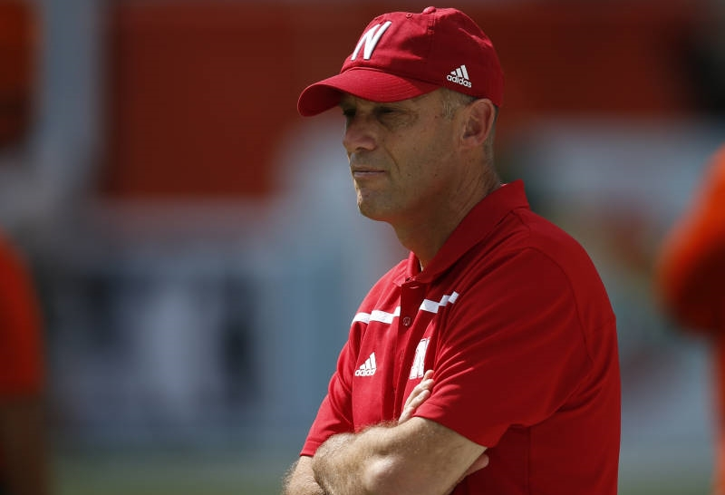 Mike Riley looks half asleep during warm-ups. The Cornhuskers defense was also asleep to start the game.