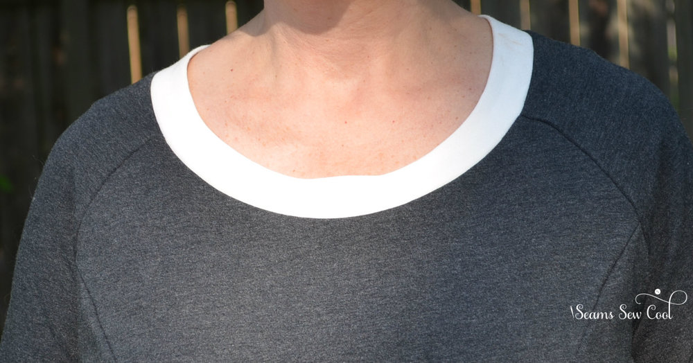 Neckline after alteration.