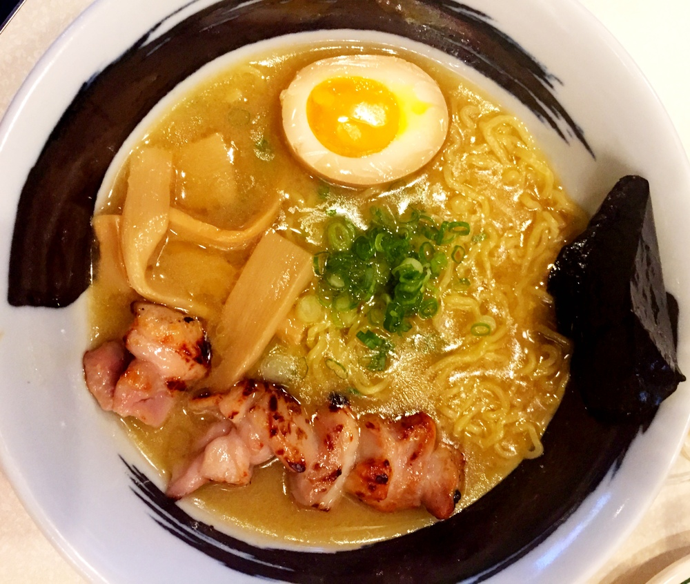 Funky chicken ramen in a glistening fatty broth