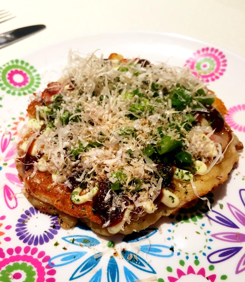Tangy, smokey Okonamiyaki Japanese pancake