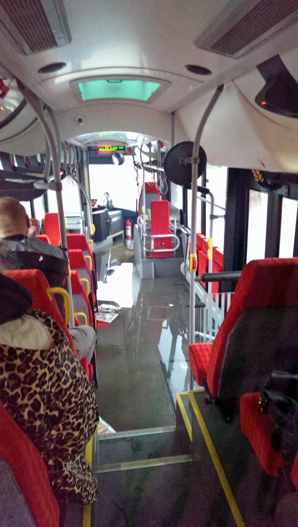The water is beginning to pour into the bus...