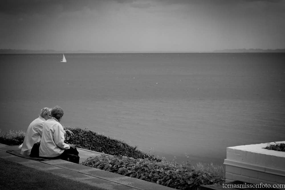 Two friends overlooking the Öresund outside The Louisiana Museum of Modern Art