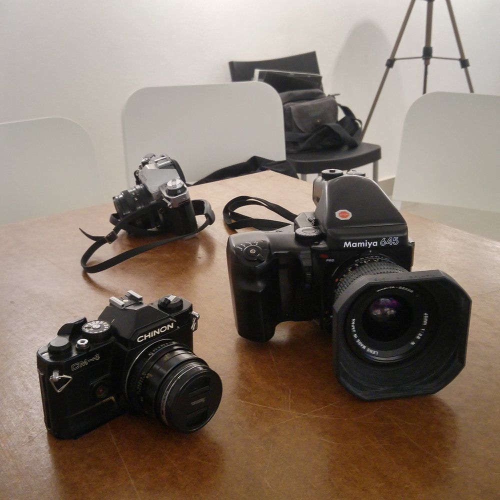 Various cameras used in the photo club analog class in 2016