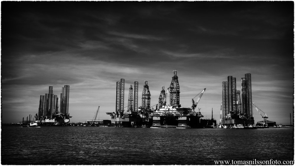 Oil rigs across the channel in Galveston, Texas. A photo that was taken during a most excellent day photography wise.