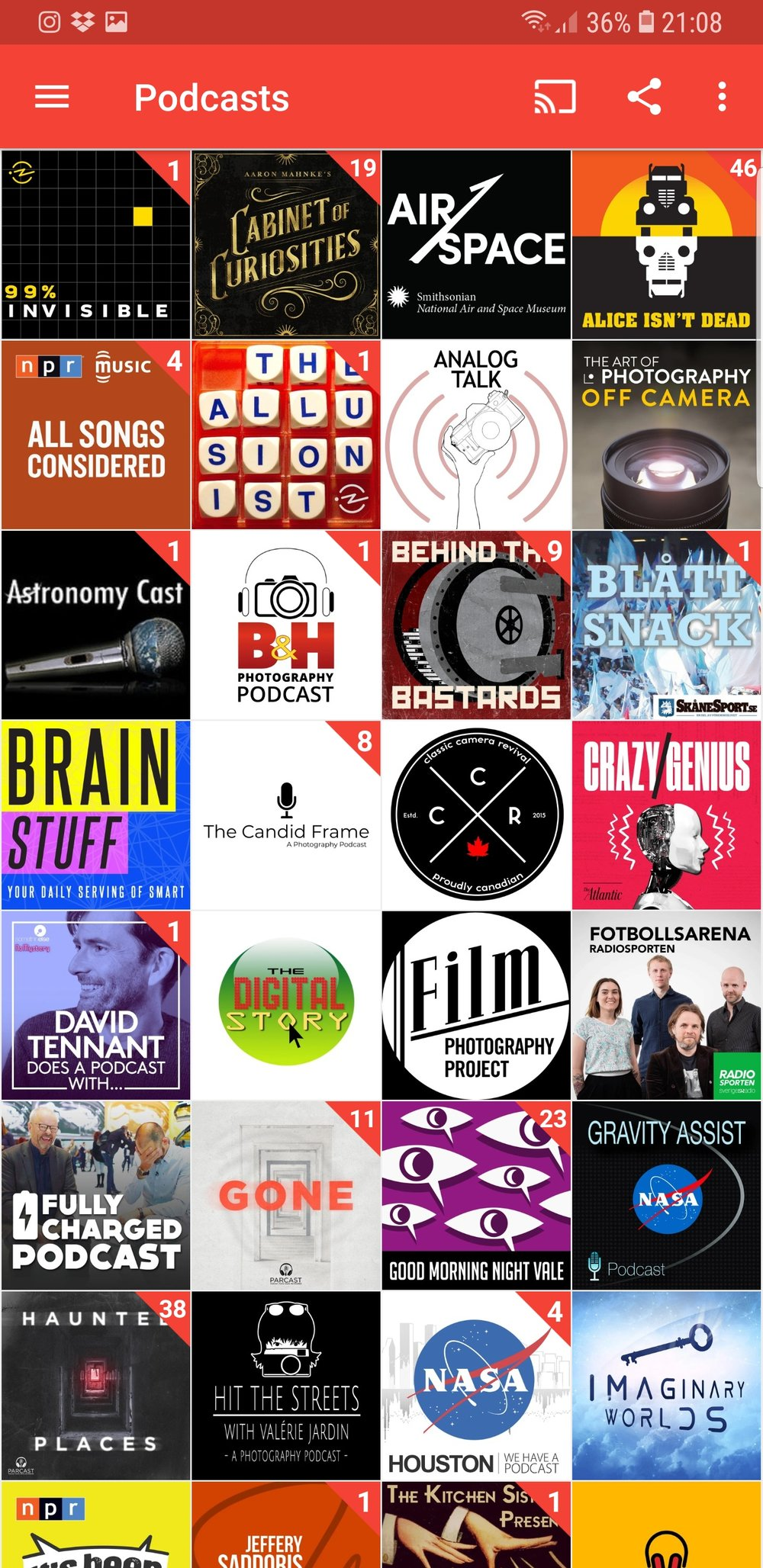 Screenshot from my PocketCasts app