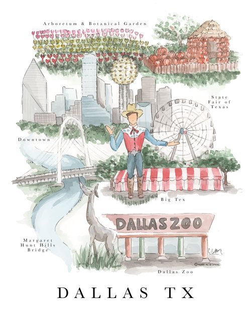 Dallas Map Print Marry Me In Spring