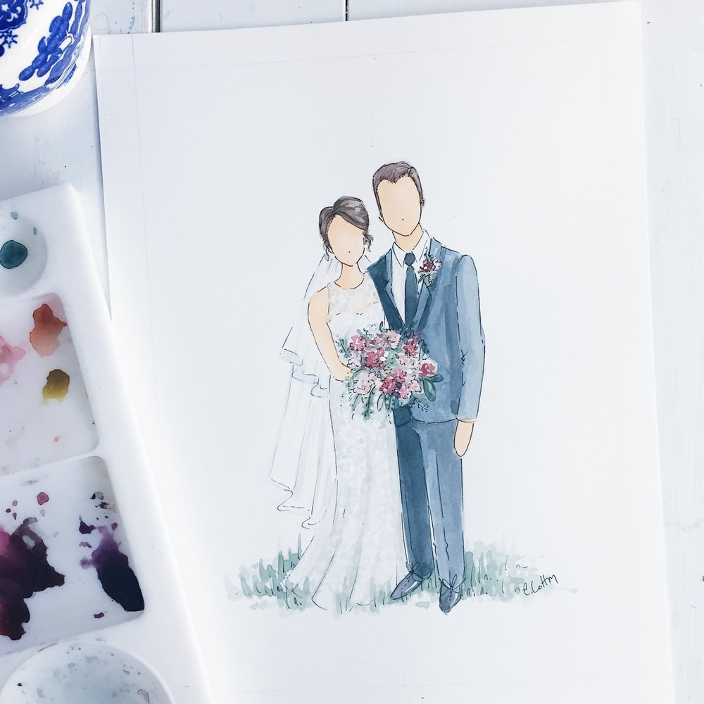 """Custom Wedding Illustration - $350+Never forget the day you said """"I Do"""" with a custom watercolor illustration."""