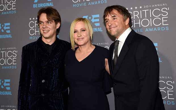 Big winners of the night -Ellar Coltrane, Patricia Arquette and director Richard Linklater,  Boyhood