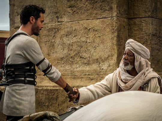 Jack Huston and Morgan Freeman in, Ben Hur