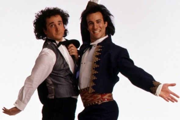 "Mark-Linn Baker (Cousin Larry) and Bronson Pinchot (Balki) in ""Perfect Strangers"""