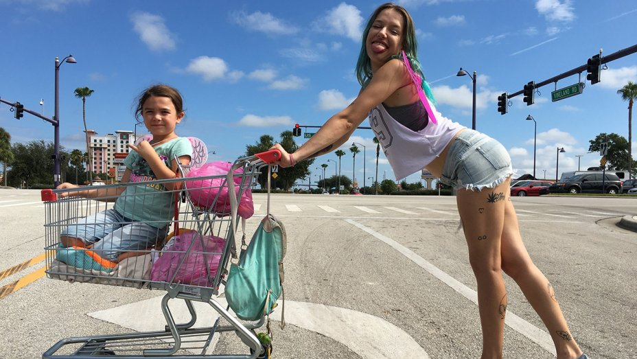 Actress Bria Vinaite plays 20-something single mom Halley in  The Florida Project . Her daughter, Moonee, is played by Brooklynn Prince.   Marc Schmidt/Courtesy of A24
