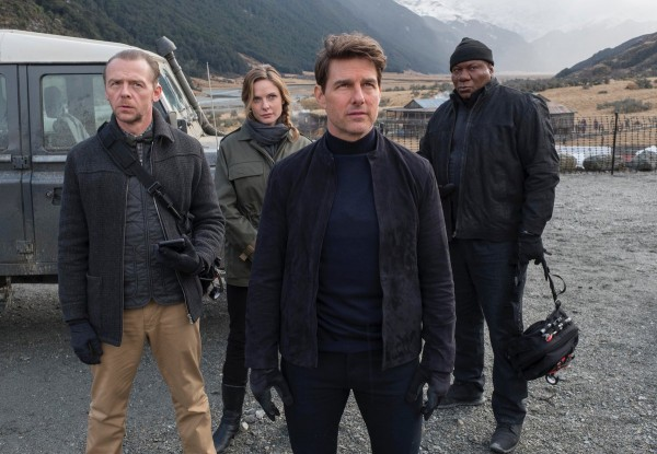 Simon Pegg and co-stars Rebecca Ferguson, Tom Cruise and Vong Rhames in Mission Impossible: Fallout