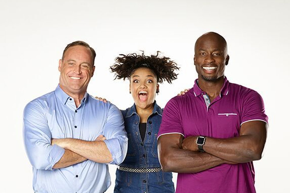 "Laurie Hernandez, middle, co-hosts ANW Junior with Matt Iseman, and Akbar Gbaja-Biamila Courtesy of ""American Ninja Warrior ..."