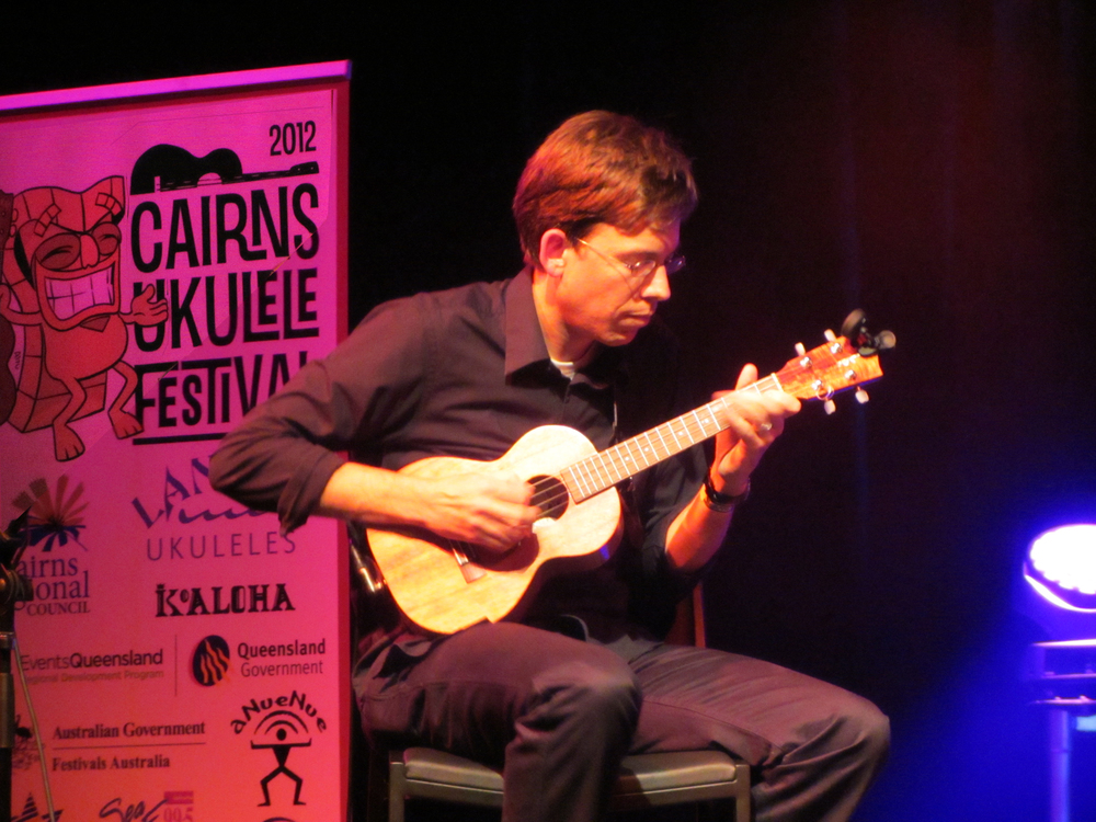 2012 Cairns Ukulele Festival  – On stage at the Tanks Arts Centre in Far North Queensland, Australia.