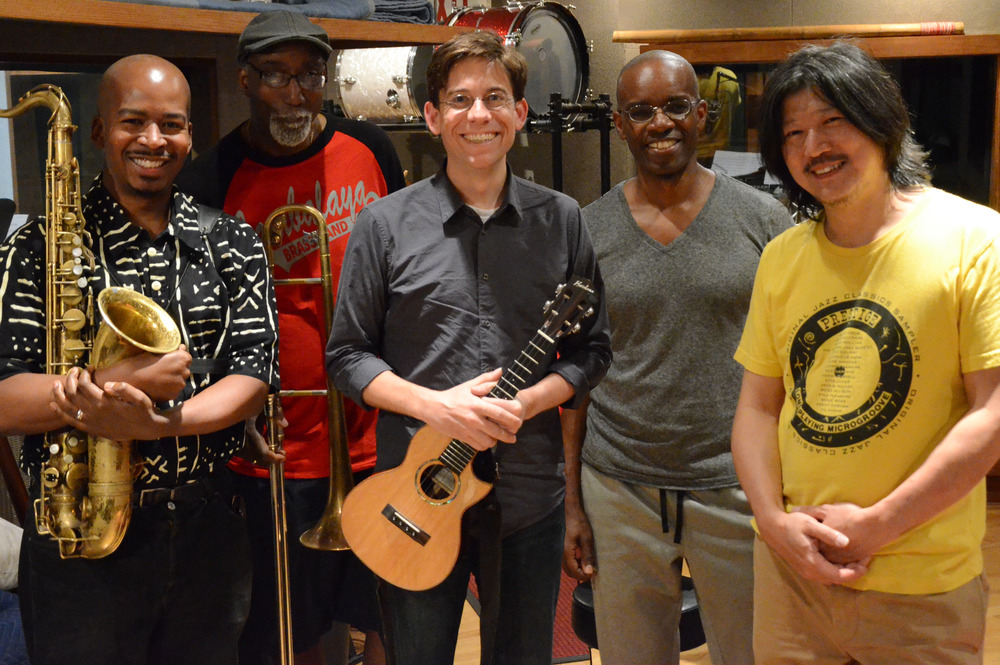 The Blues And The Abstract Uke    Recording   Session  – at East Side Sound, June 2014.  (L to R) Greg Tardy, Curtis Fowlkes, Paul Hemmings, Rudy Royston, Gaku Takanashi.