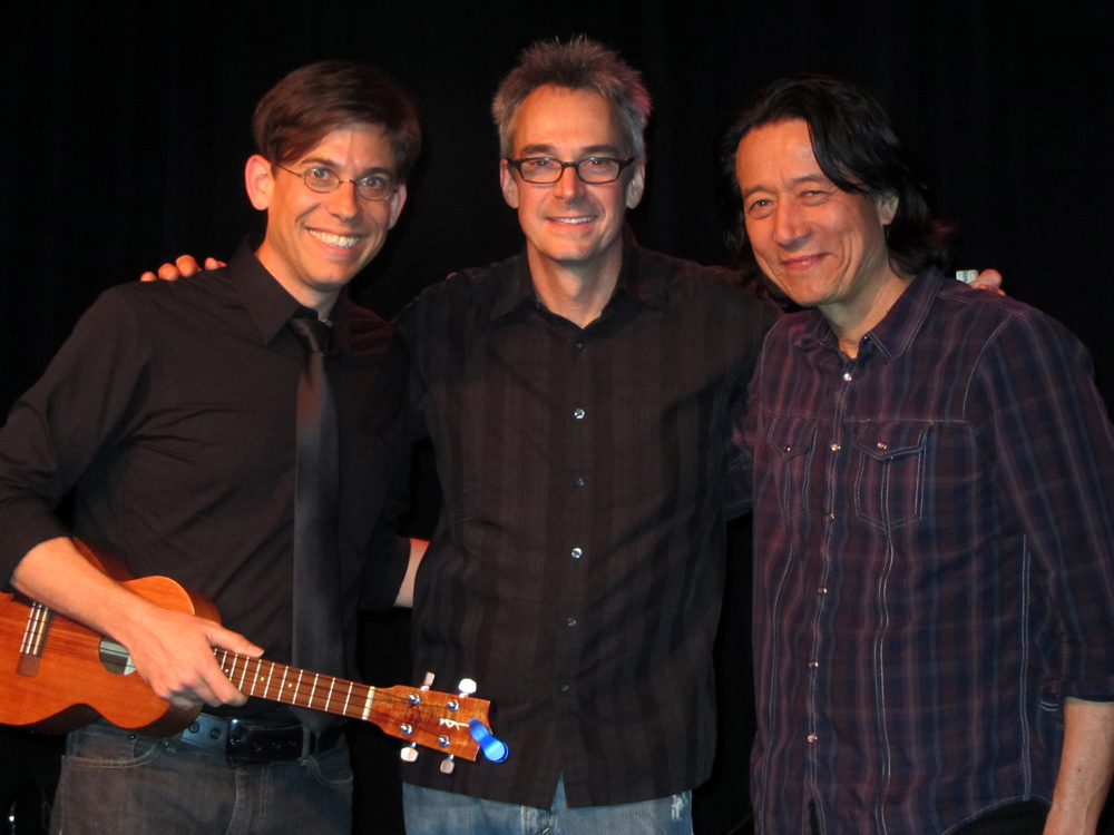 At The Palms Playhouse in Winters, CA  – (L to R) Paul Hemmings, Andrew Enberg, and Gerry Pineda.