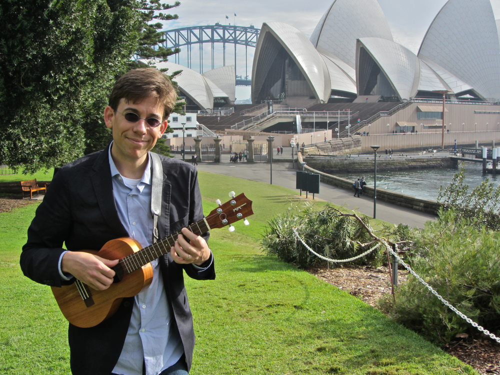 At The Sydney Opera House  – En route to the 2012 Cairns Ukulele Festival.