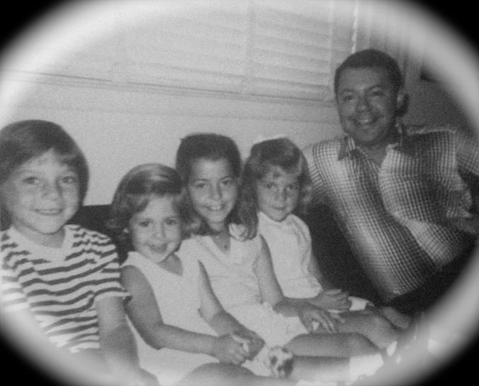 My father, sisters and myself (right the middle) in 1964. I was already crafting gifts for my family every Christmas at the time!