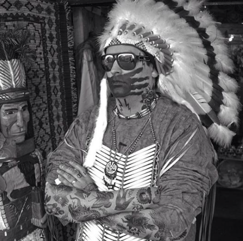 Photograph from Gregg Deal's performance piece The Last AmericanIndian On Earth.