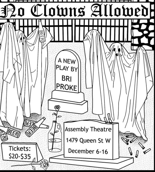 After you've seen From the Water,  Get tickets to @bloodpacttheatre's new production of NO CLOWNS ALLOWED! Don't miss out on this groovy show, following two cemetery neighbours, as they laugh & cry together over beer, and 1950's doo-wop tunes #noclowns  Dec 6-16 at @assemblytheatre