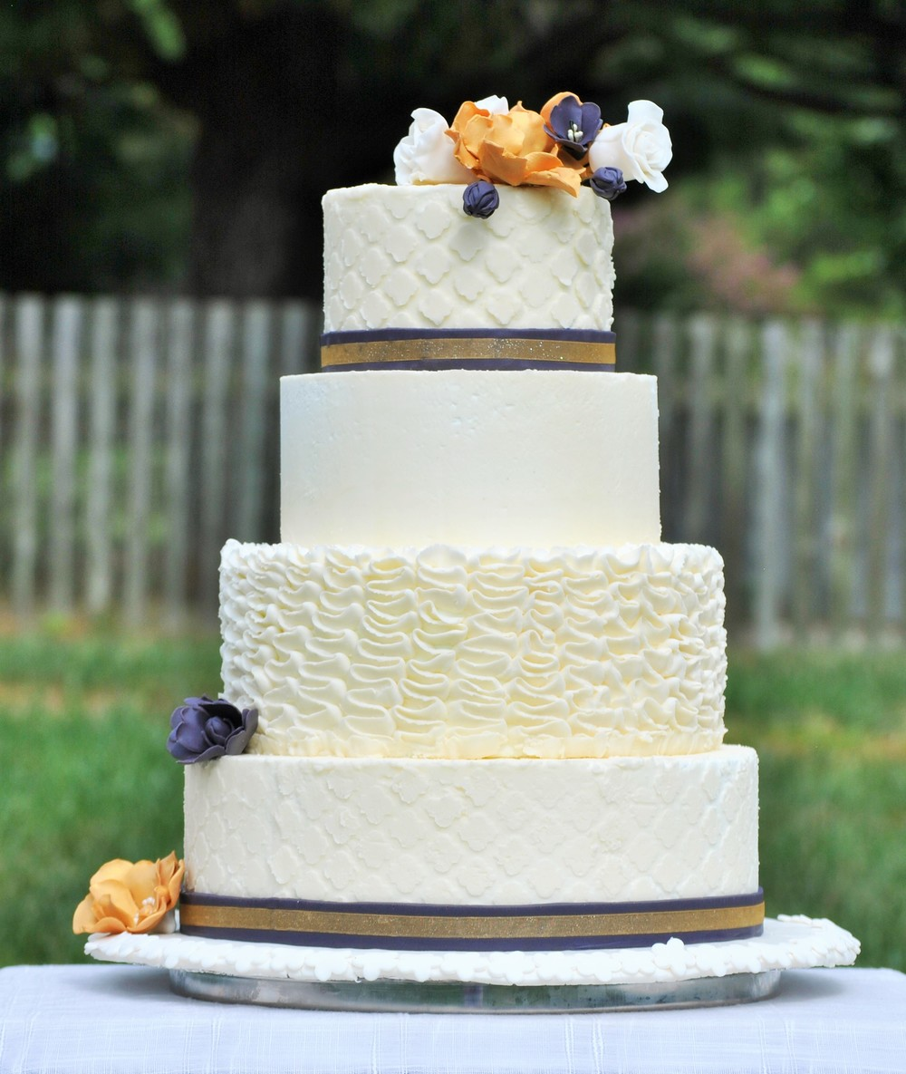 Modern White Wedding Cake, Richmond, VA