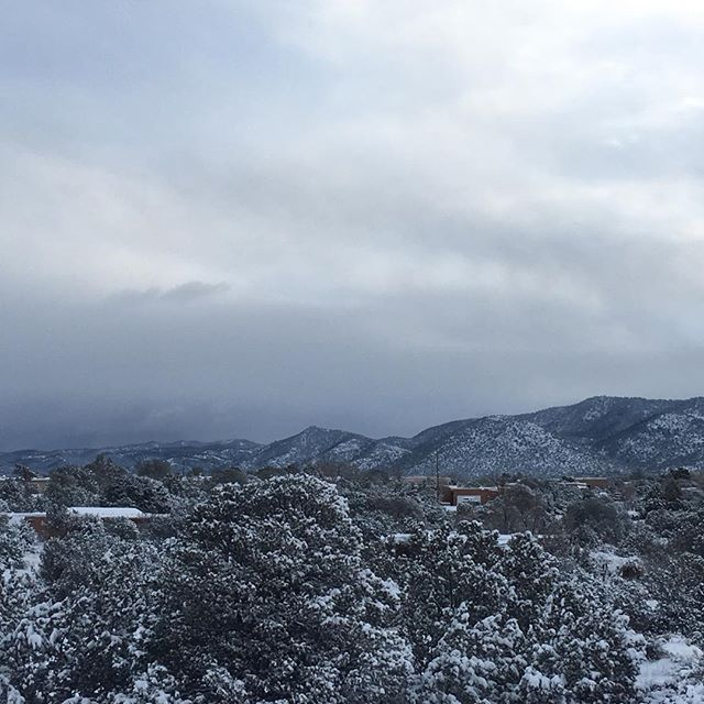 Woke up to this beautiful view this morning. #WinterinSantaFe #SnowontheMountains #MyHappyPlace