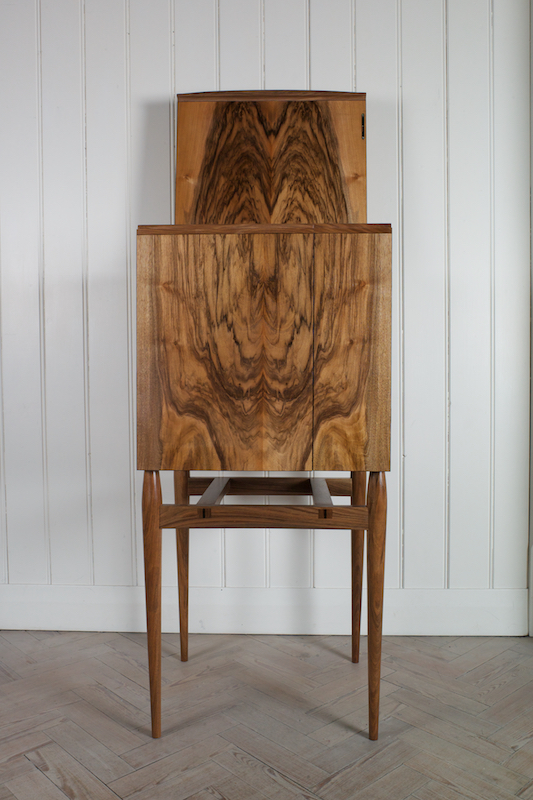 Collectors Whisky Cabinet In English Walnut And Bog Oak