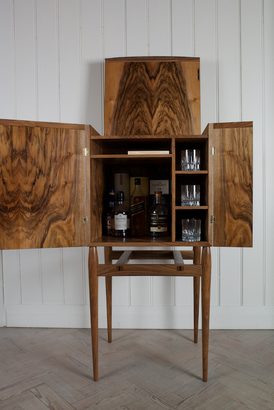 Delightful Collectors Whisky Cabinet In English Walnut And Bog Oak
