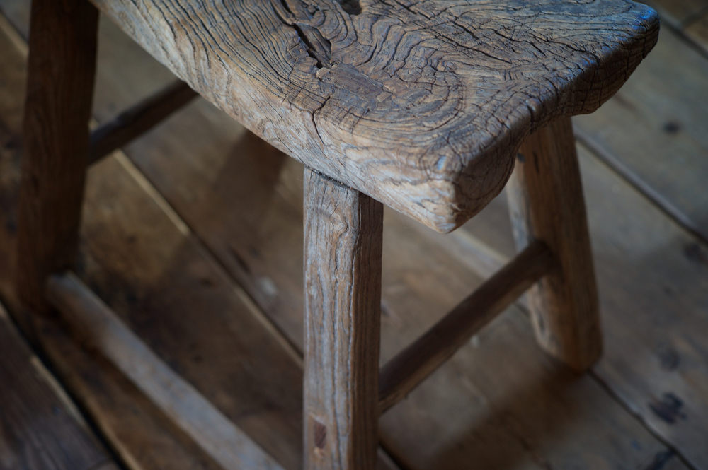 oak stool detail