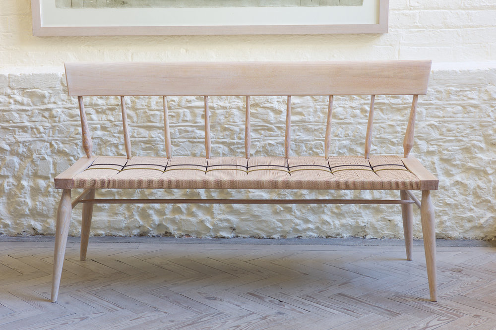 Light and interesting bench made from English Ash with Danish cord and waxed cordf