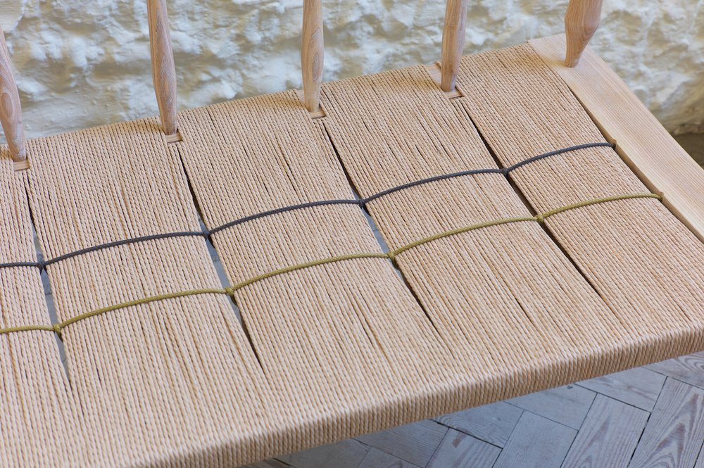 Petrel Furniture bench, cording detail