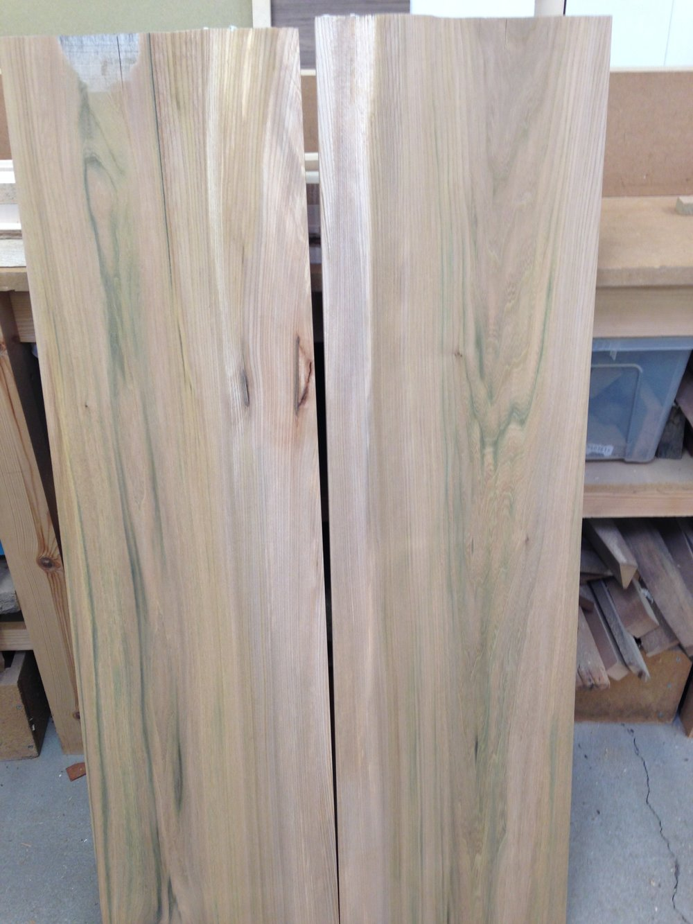 Elm boards cut and matched for drawer carcass
