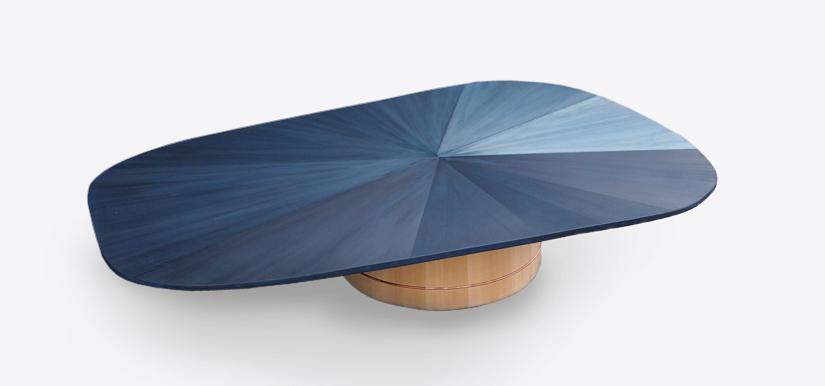Colour stains on cedar table by Nakagawa Mokkougei