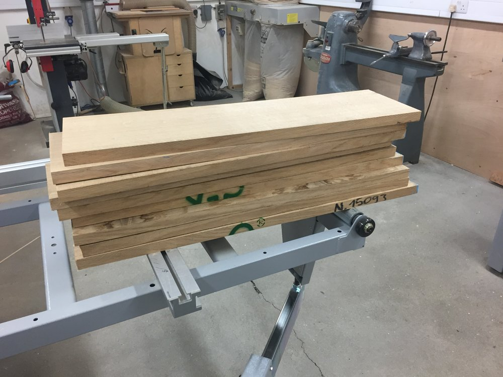 Quarter sawn oak being machined