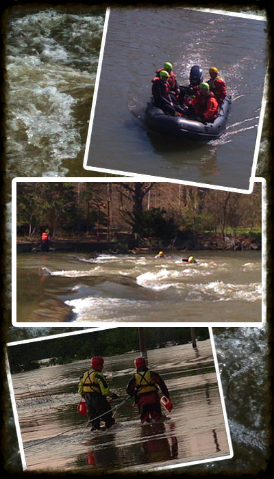 Flood rescue training, moving water training, boat operations training