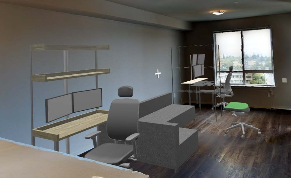 A screenshot from JanusVR of the apartment soon after receiving the 3D files.