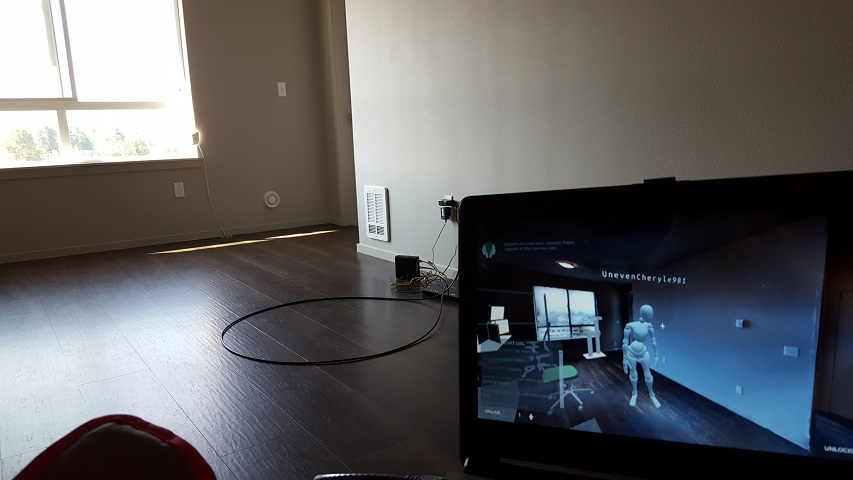 Soon after getting internet service established during our first visit to the apartment, I decided to hop into JanusVR via my travel laptop. Soon after positioning myself to coincide with the virtual apartment, someone followed me in! You can see the implications of this for Augmented Reality/Mixed Reality on the horizon.