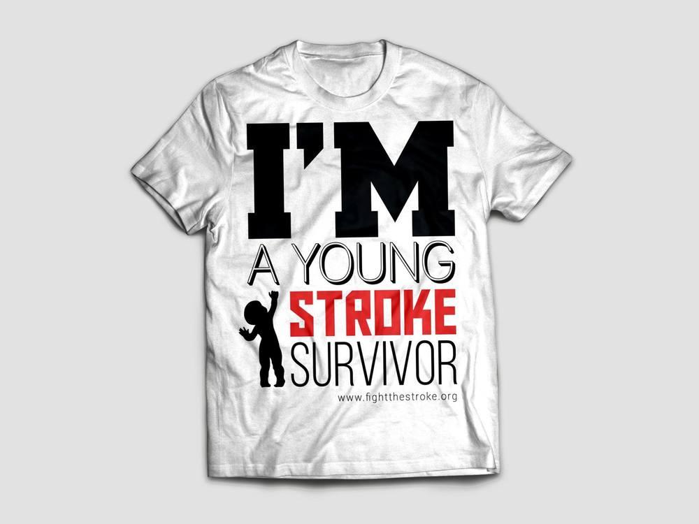 """T-Shirt """"I'm a young stroke survivor"""". Specificare la taglia nel modulo Paypal. Donazionedi20€"""