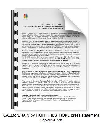 Comunicato stampa: CALL4BRAIN 12-14 Settembre 2014