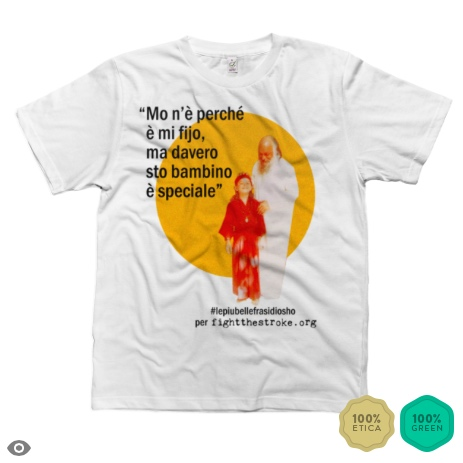 La vita non è una tragedia: è una commedia. Essere vivi significa avere un profondo senso dell'umorismo. Così la pensava Osho (quello vero) e questa è anche la filosofia dell'Associazione Fightthestroke, dalla parte dei giovani sopravvissuti all'Ictus. E' così che nasce questa maglietta, da un'idea di Francesca, Federico e Laura e al sapiente aiuto grafico di Mattia.
