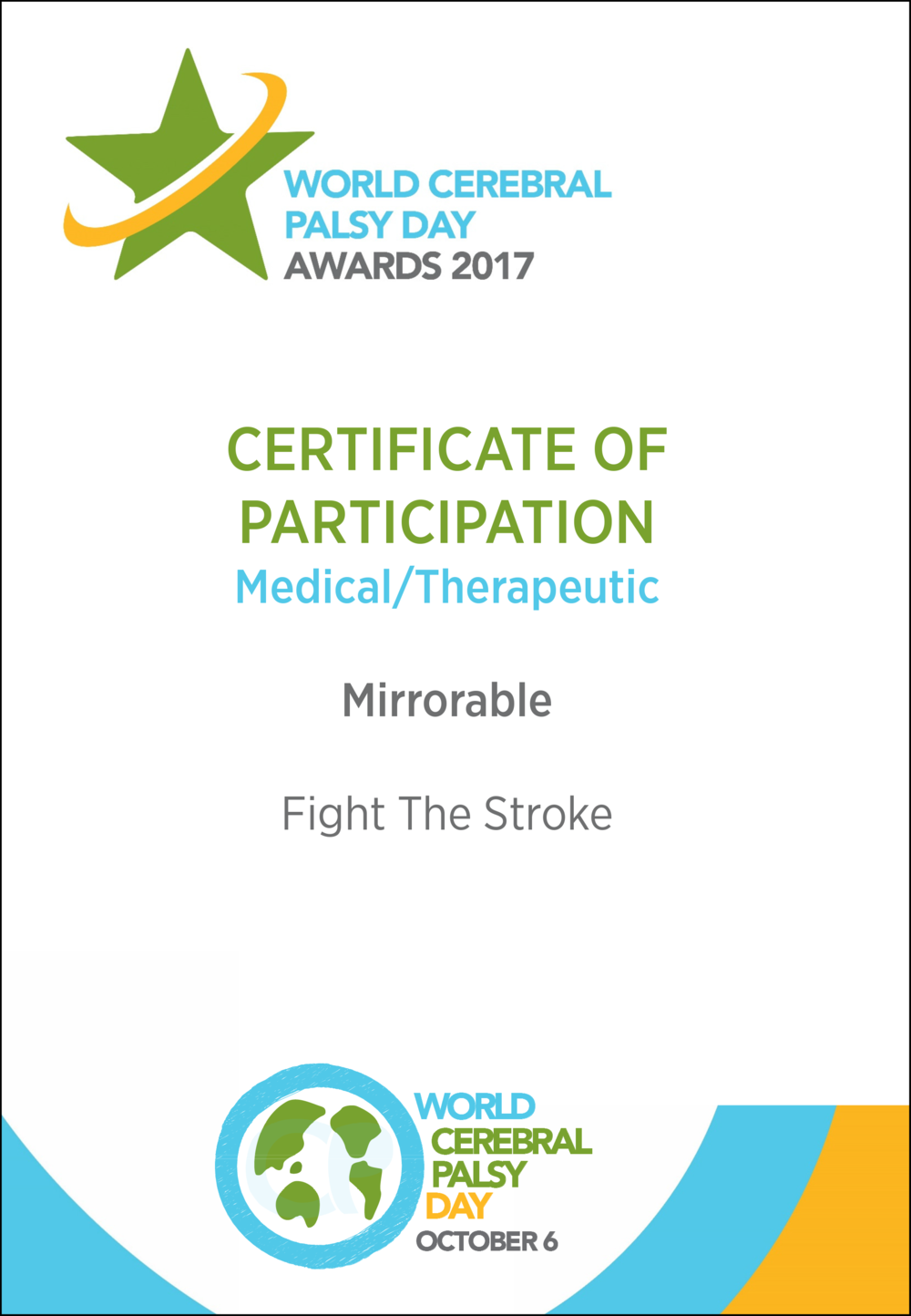 World Cerebral Palsy Day Awards 2017 Certificate: Fight The Stroke