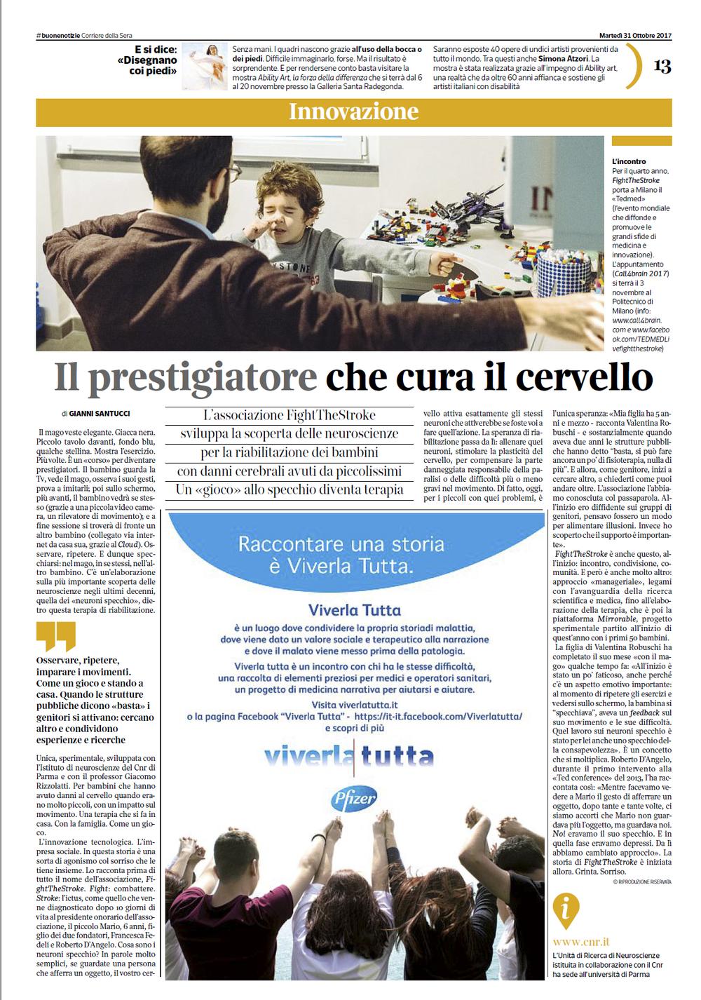 Corriere Della Sera | Buone Notizie 31/10/2017