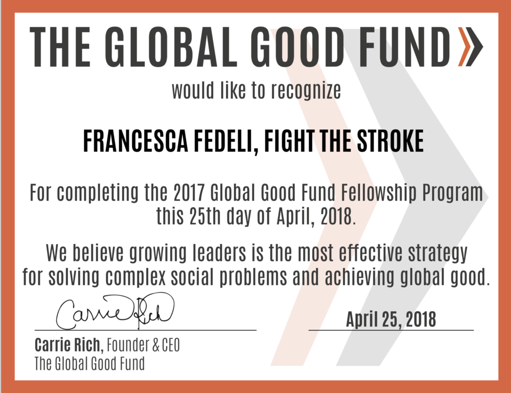 The Global Good Fund - Certificate of Completion - April 25, 2018